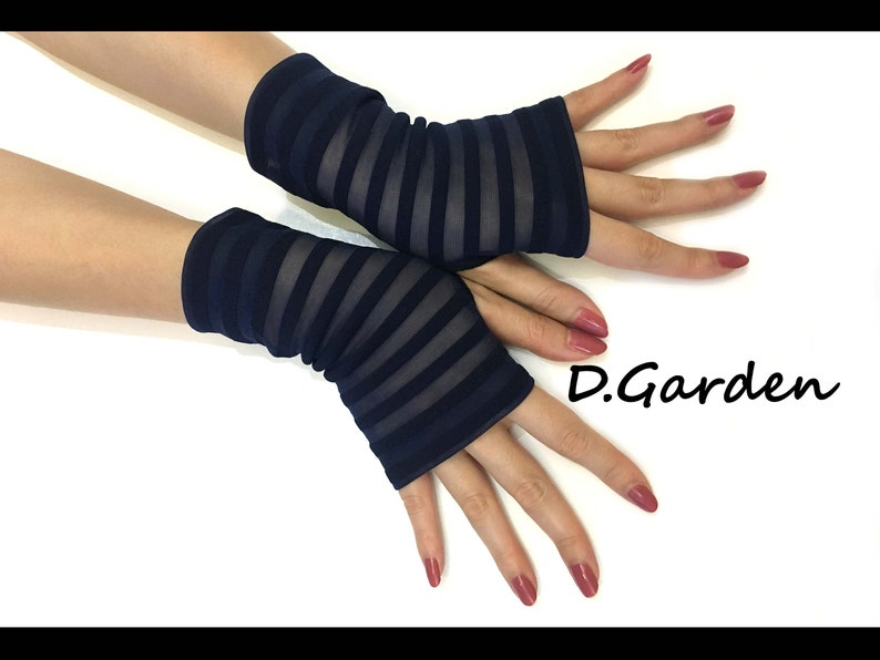 52fd56bb71 Short Sexy Navy Blue Stretchy Knitted Soft Fingerless Arm | Etsy