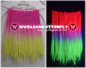 "UV Dreads - ""Peeps"" 50DE - Double-Ended (14""-18"") - Luxury Blend - Wool/Bamboo/Silk - Dreadlocks - Neon Pink to Yellow - Glowing Locs"