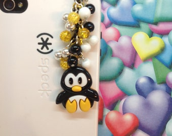 Penguin cell phone charm, headphone jack charm, phone charm, dust plug, dust plug charm , iphone charm, ipad charm, phone accessories