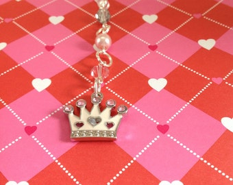 Princess Crown cell phone charm, phone charm, headphone jack charm, dust plug, dust plug charm, phone accessories, iphone charm, ipad charm