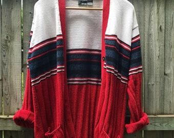 Vintage 90's Varsity Striped Oversized Cardigan