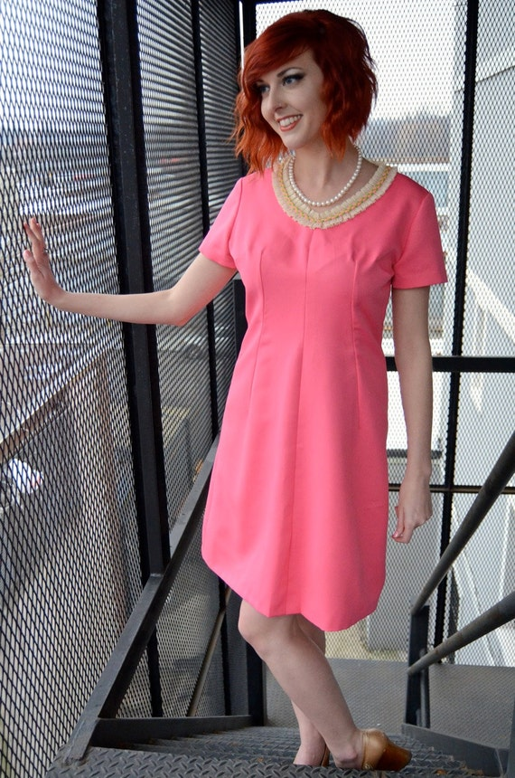 Vintage 60s Hot Pink, Ruffled Collar, Retro, Mini