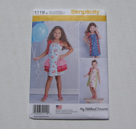 Simplicity 1119 Girl S Summer Dress Size 3 Thru 8 Etsy
