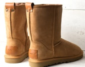 FINAL SALE Winter boots women Genuine nubuck leather in tan color with personalization UGG Style Duck boots
