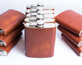 Personalized flask Groomsmen flask Groomsmen gift hand stitched colors to choose black brown tan cognac dark green turquoise pink