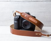 Personalized leather camera strap 40mm Hand crafted with monogram personalization Rich cognac color. Custom made.