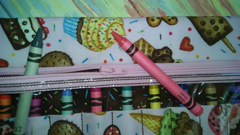6 x 9.5 Zippered Crayon Case Pink with Ice Cream and Cupcake Treats