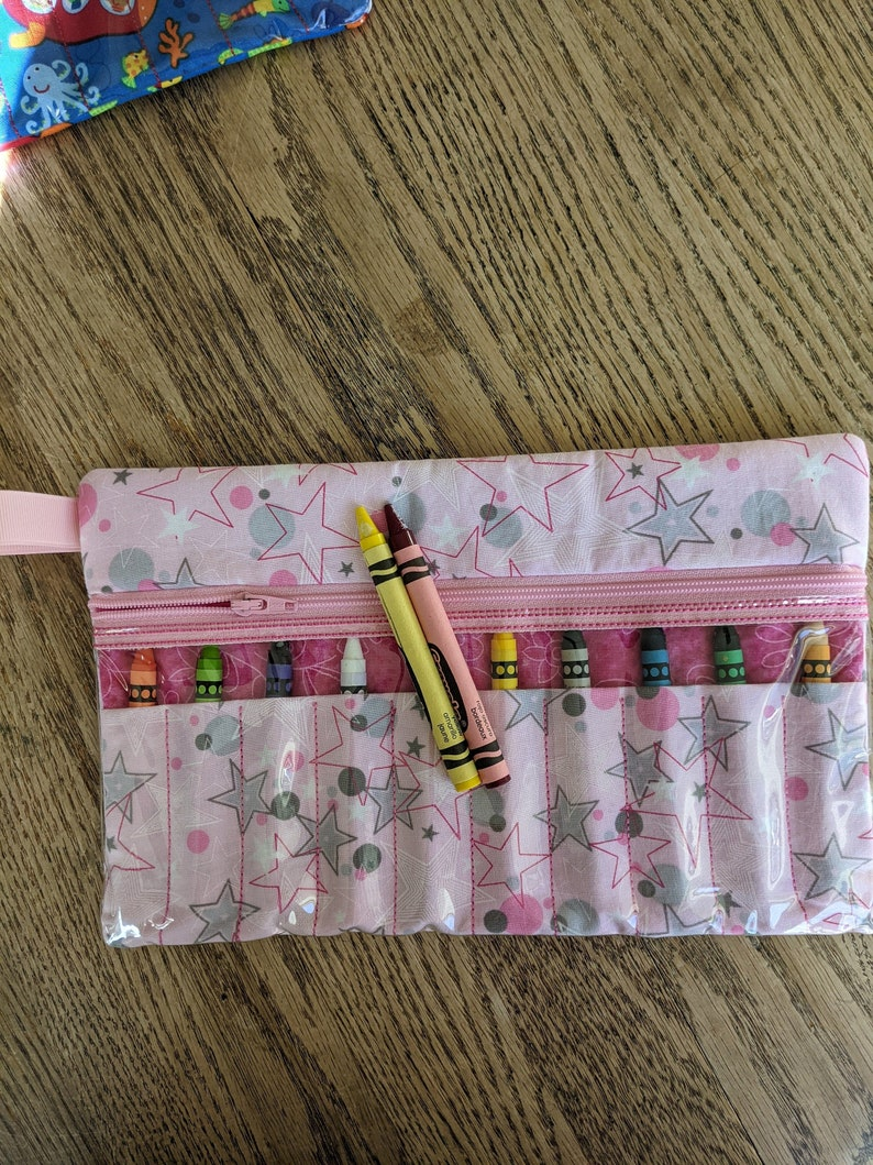 Light  Pink with Stars 6 x 9.5 Zippered Crayon Case 25/% off