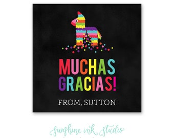 Fiesta Party Thank You Tags - Printable Fiesta Thank You Favor Tags - First Fiesta Thank You Tags