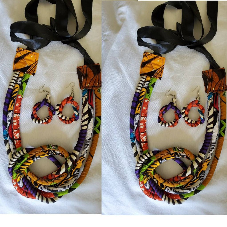 African print  handmade necklace with a matching earrings