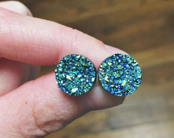 Blue and Green Druzy Post Earrings