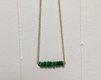 Green Stone Beaded Bar Necklace