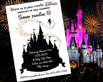 Disney Castle Themed Birthday Party Invitation
