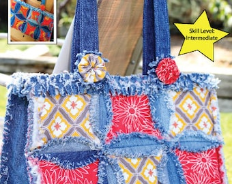 PDF DOWNLOAD Purse Pattern Denim Circle Rag Bag made with Recycled Jeans