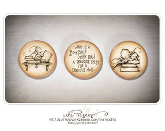 A set of 3 ROUND MAGNETS that's all about books... (1 inch/2.5cm round fridge magnets)