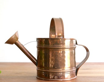 French copper watering can, 1960s vintage / plant, cactus, boho chic, bohemian, folk, france, rustic, country, home decor, french