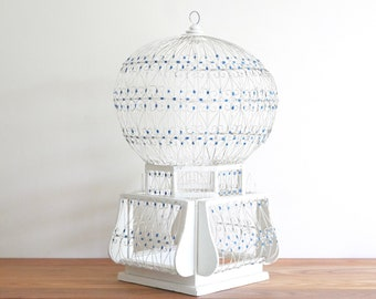 LARGE Tunisian cage, wood and metal, 1970s / Tunisia Morocco, boho chic, folk, bohemian wall hanging, cottage, country, blue white, arabian