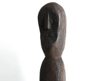 Vintage african wooden spear, totem sculpture / ethnic tribal boho chic folk bohemian cabinet of curiosities africa statue head