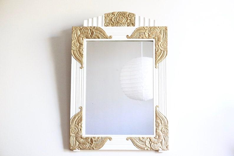 Tremendous Antique French Art Nouveau Wall Mirror Wooden Frame Plaster Decor Shabby Chic Bathroom Bedroom Floral Golden White France Farmhouse Download Free Architecture Designs Terchretrmadebymaigaardcom
