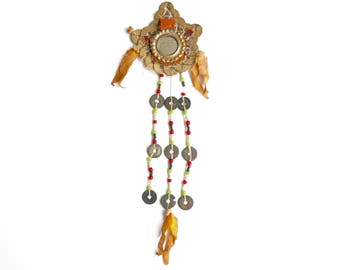 Vintage Asian amulet with coins, mirror and pearls / Cast Korean charm, lucky charm good luck tribal asia china boho chic folk bohemian