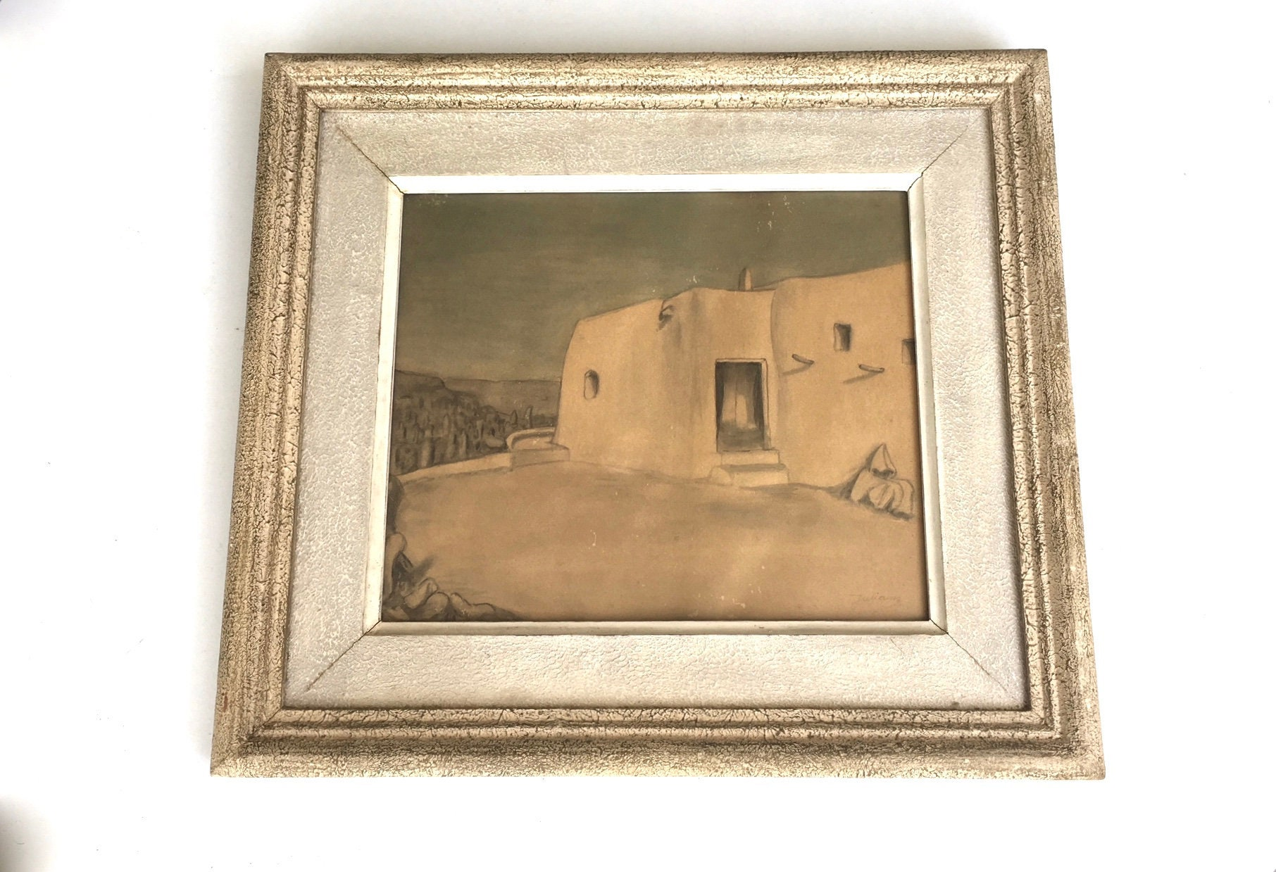 French Drawing North African House Signed Juliany 1950s
