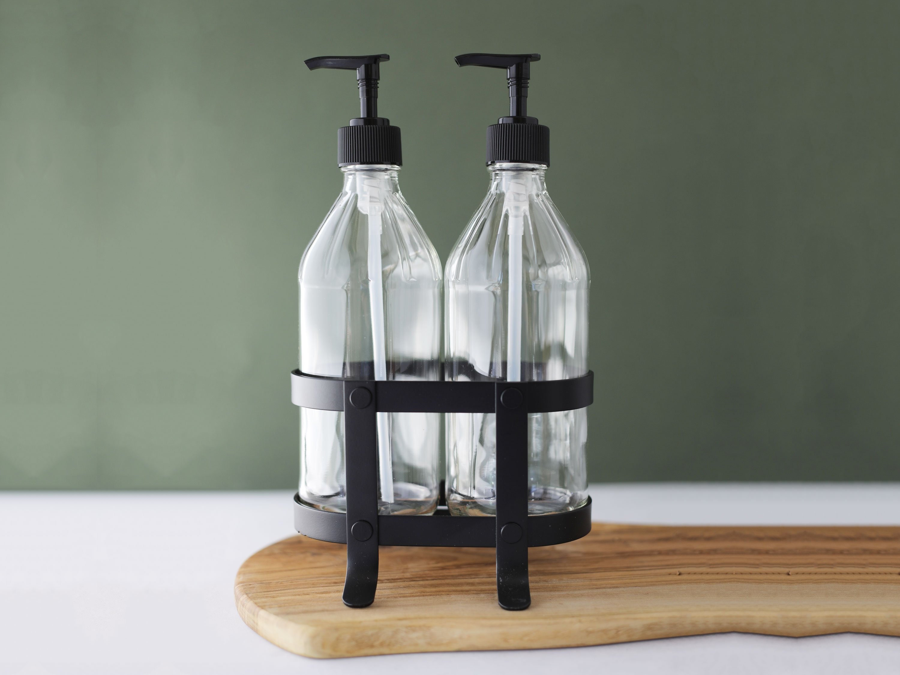 Vintage Kitchen Dish Soap + Hand Soap Dispenser Set with Black Metal Stand  / Caddy Perfect for The Kitchen Sink