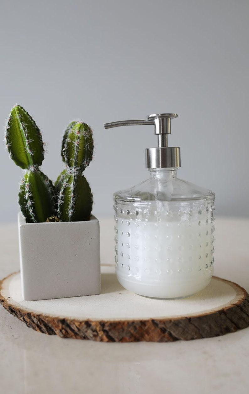 Soap Dispensers  Hobnail Vintage Glass Soap Dispenser image 0