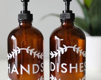 Farmhouse Vintage Kitchen Hand Soap Dish Soap Dispenser Pair Amber/Black | Kitchen Soap Dispenser Set Laurel Hands + Dishes