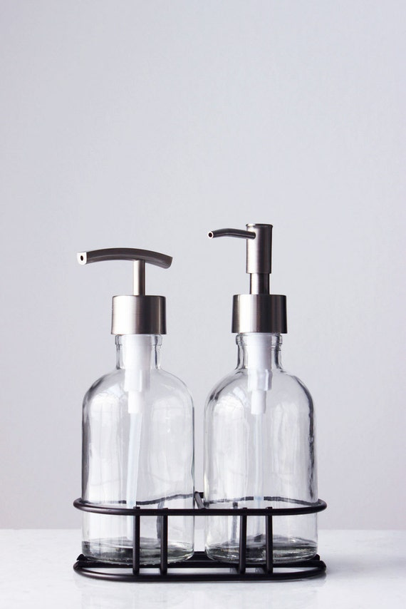 Soap Dispenser Set With Caddy Glass Soap Dispenser With Etsy