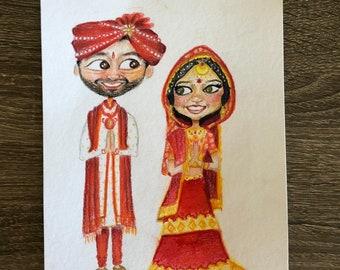 Custom Wedding Art bride groom illustration invitations cute charicatures invites engagement artwork drawing indian armenian hand painted
