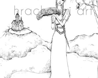 Lavash Girl Print Armenian pomegranate tree life church hills land earth bread mother braids innocent symbolic art fashion illustration