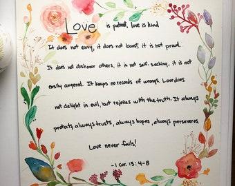 Bible Verse Art - christian art love watercolor floral wreath inspiration artwork painting