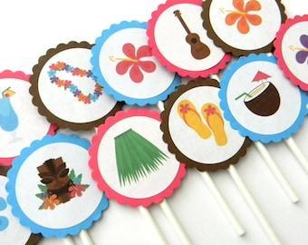 12 Luau Cupcake Toppers Party Hula Birthday First Theme Hawaiian Baby Shower