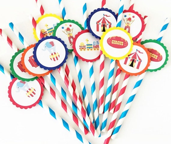 12 Circus Party Straws Carnival Theme First Birthday Circus Party Carnival Birthday Elephants Circus Train Party Circus Theme