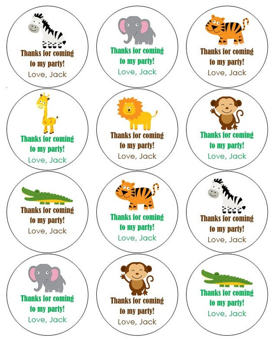12 Jungle Stickers Jungle Theme Thank You Labels Monkey