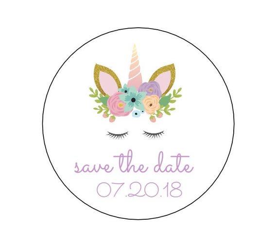 20 unicorn save the date envelope seals invite stickers save the