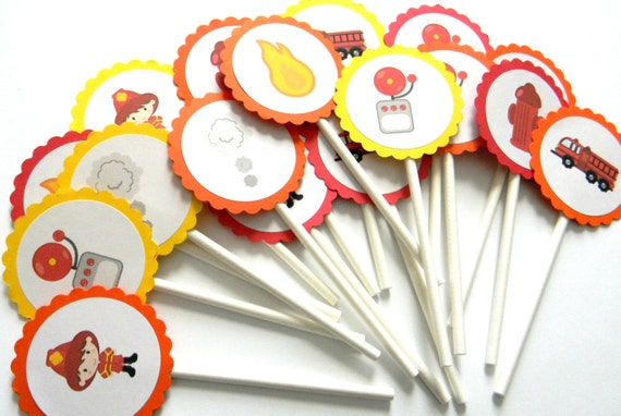 12 Firefighter Cupcake Toppers Fireman Toppers Firetruck Etsy