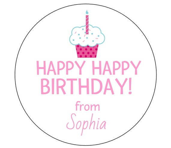 12 Gift Tag Stickers Birthday Tags Happy Thanks For Coming Personalized From Labels