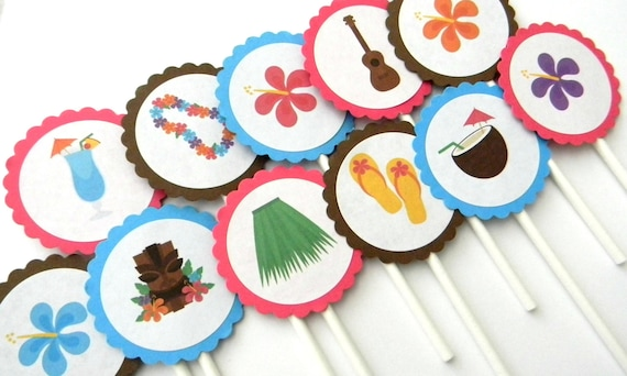 12 Luau Cupcake Toppers Party Hula Birthday First