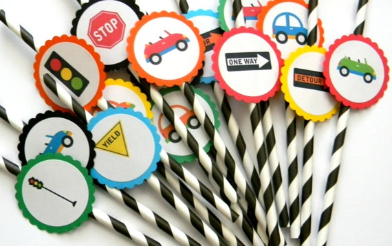 12 Transportation Party Straws First Birthday Cars Theme Cars