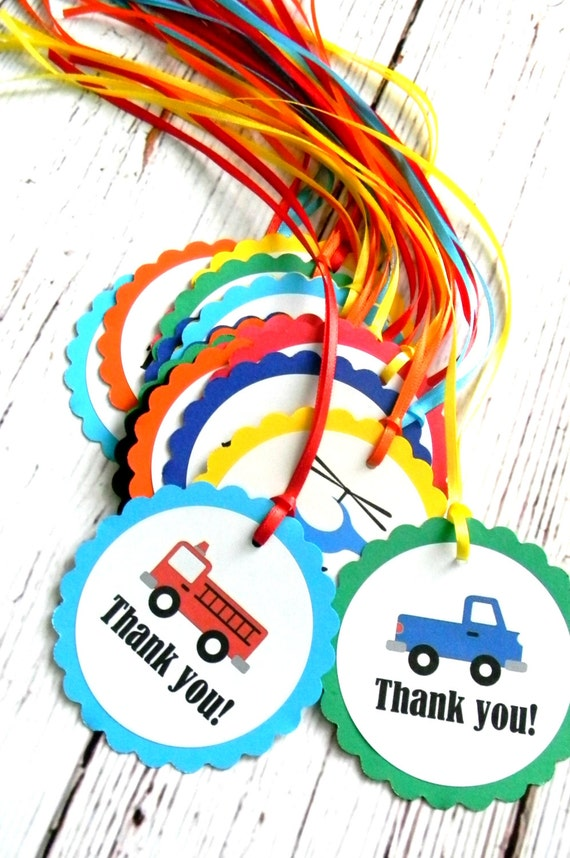 12 Transportation Birthday Party Favor Tags