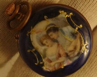 1890 Ladies Pocket Watch - Blue Enamel Watch with Rare Design -