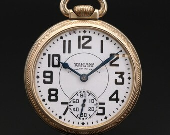 1940 Waltham Premier Vanguard  10K Gold Filled Railroad Pocket Watch