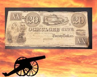 1864 Confederate Currency 20 Dollar Bill - MACON GA - Rare Confederate Currency
