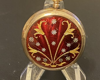 Ladies Pocket Watch Ruby Red Enamel and Gold  Pendant Watch