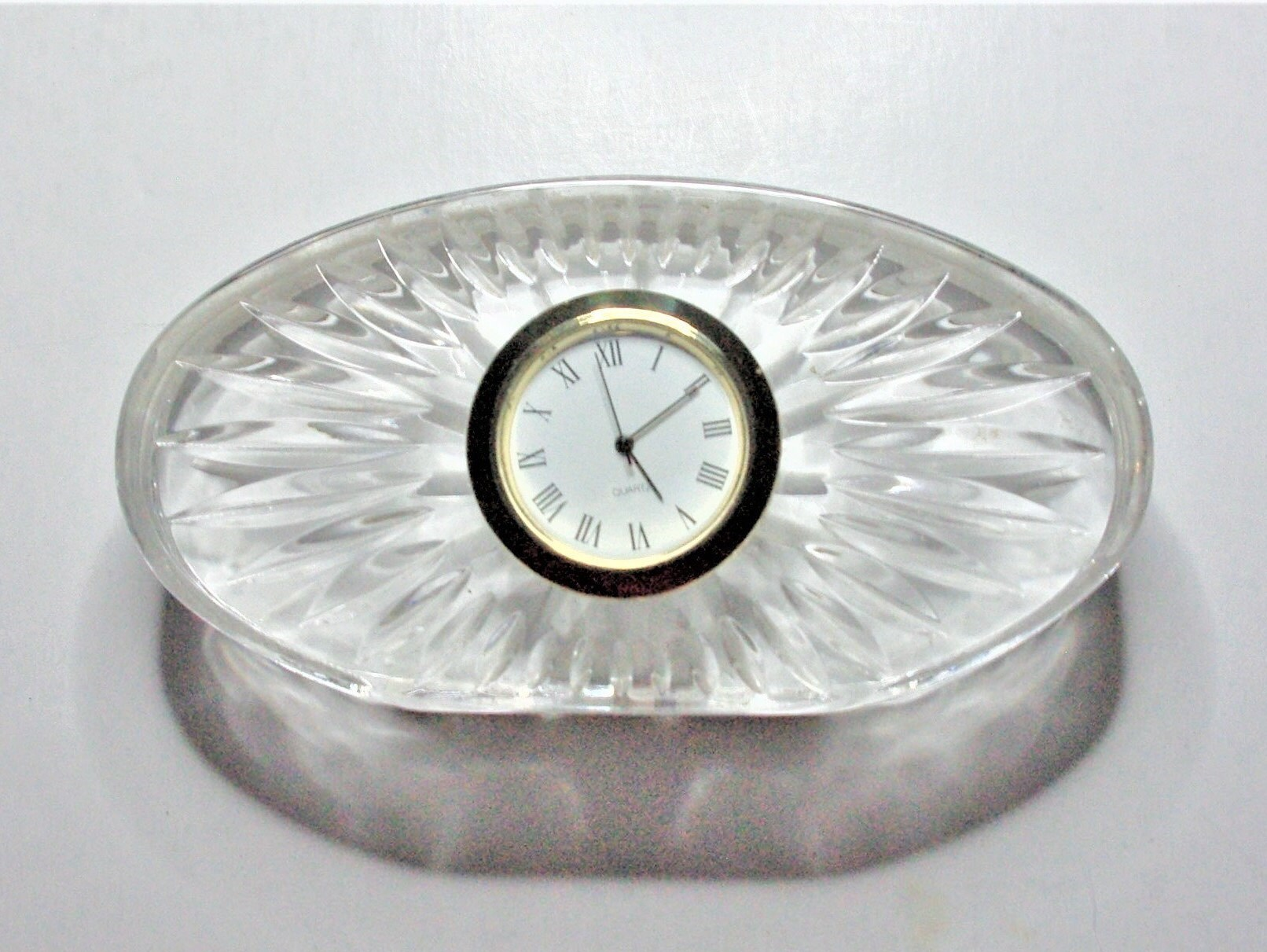 Waterford Oval Clock Beautiful Hand Cut Crystal Base With New