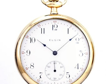 1910 Elgin Pocket Watch - Open Face Gold Watch in Working Condition.