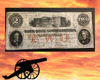 1862 Confederate Currency 2 Dollar Bill - CHARLESTON SC - Rare  Currency