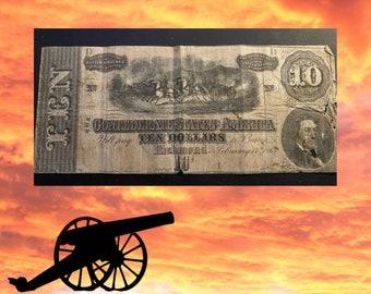 1864 Confederate Currency 10 Dollar Bill - RICHMOND VA - Rare Confederate Currency