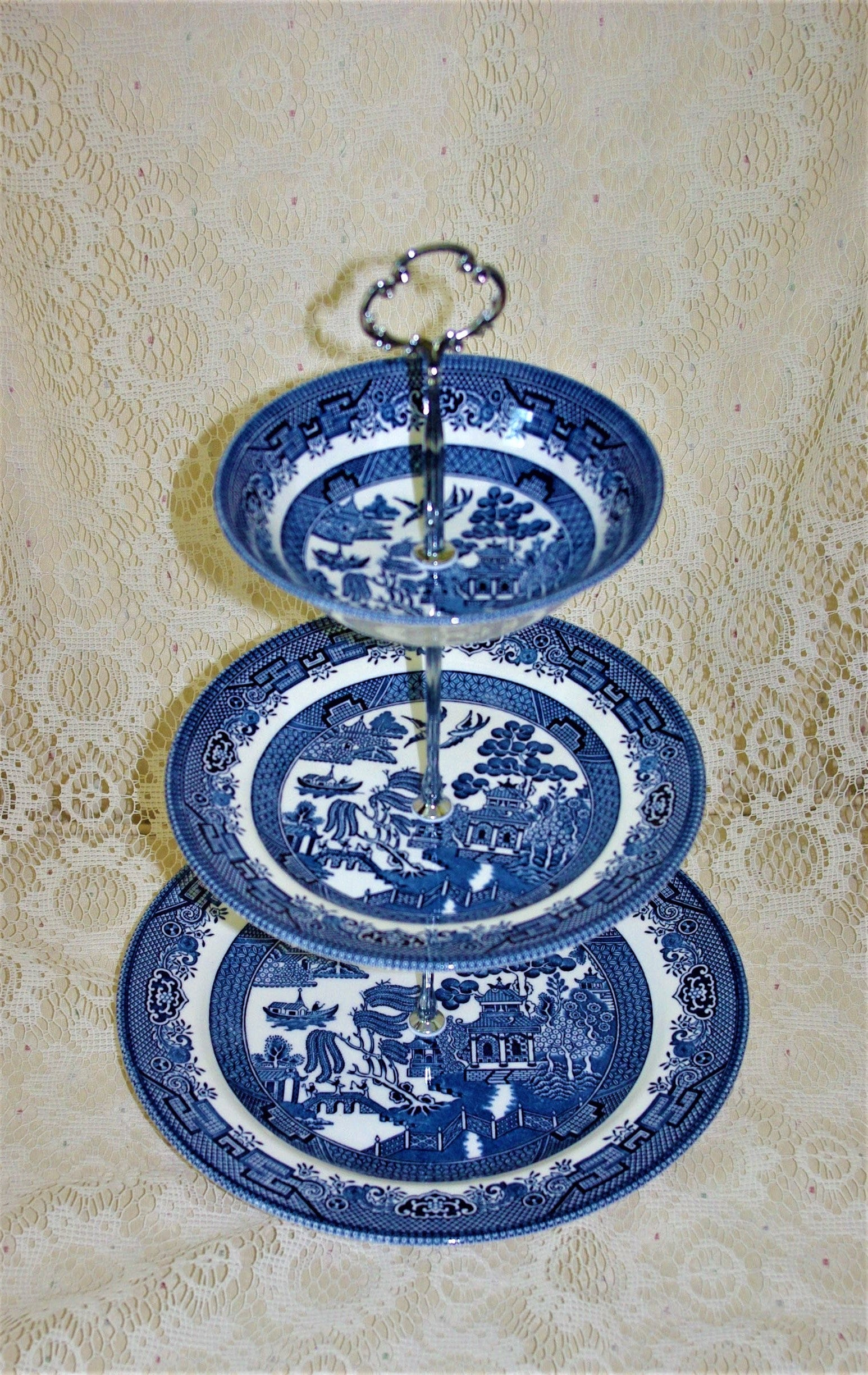 White Dove Porcelain Plate w// Display Stand
